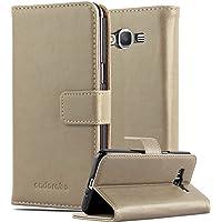 Cadorabo - Funda Estilo Book Lujo para Samsung Galaxy GRAND PRIME con Tarjetero y Función de Soporte - Etui Case Cover Carcasa Caja Protección en MARRÓN-CAPUCHINO