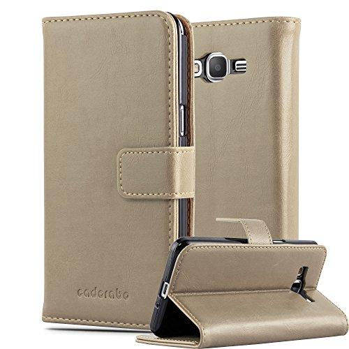 Cadorabo Hülle für Samsung Galaxy Grand Prime - Hülle in Cappucino BRAUN - Handyhülle im Luxury Design mit Kartenfach & Standfunktion - Case Cover Schutzhülle Etui Tasche Book