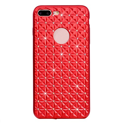 iPhone 7 Plus 5,5 Zoll Bling Hülle, Asnlove 3D Diamond Premium PU Ledertasche Back Cover Ultra Dünn TPU Silikon Bumper Style Handyhülle mit Bling Crystal Kirstall Diamant Strass Rhinestone Protective Case für Apple iPhone 7 Plus - Rot