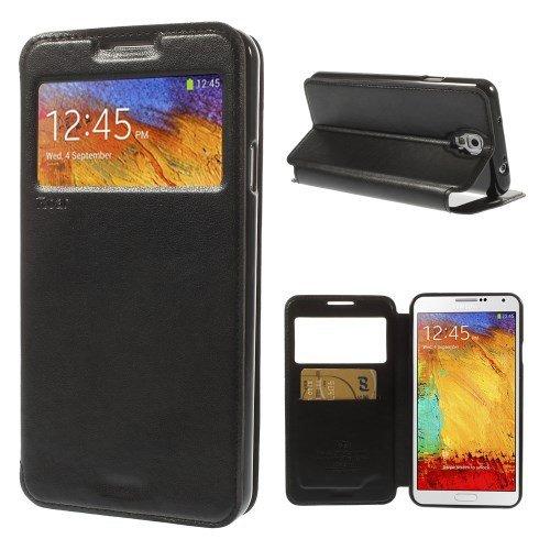 Flip Case Handy-Hülle zu Samsung Galaxy Note 3 Neo 3G / SM-N750, LTE / GT-N7505 - SMART BOOK #02 - Handy-Tasche, Schutz-Hülle, Cover, Handyhülle, Bookstyle, Booklet, Farbe:Schwarz