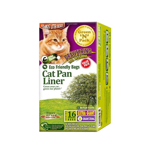 Green N Pack Extra Large Drawstring Cat Pan Liner, 16-Count by Green 'N' Pack (Pan Liners Cat)