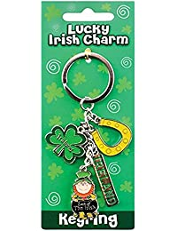 Irish Style Charm Keychain With Horseshoe, Shamrock & Leprechaun In Pot Of Gold