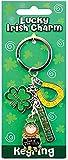 Irish Style Charm Keychain With Horseshoe, Shamrock & Leprechaun In Pot Of Gold