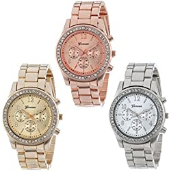 Tonsee 3 PACK Silver Gold and Rose Gold Plated Classic Round CZ Ladies Watch