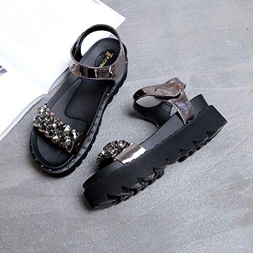 Lgk & FA dété Sandales pour femme le fond et diamant épais Sandales dété Sandales Chaussures plates Upgraded gun color
