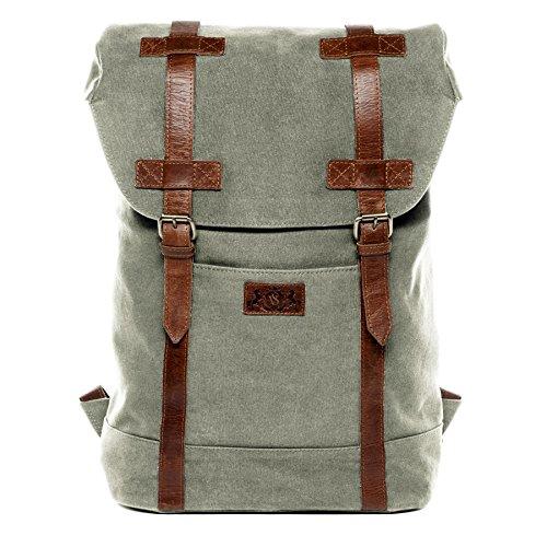 """SID & VAIN® Rucksack CHASE - Unisex Lederrucksack groß Lederrucksack fit für 15.4 """" Zoll 15 Laptop mit gepolstertem Gerätefach- Backpack Damen und Herren echt Leder hellgrau-braun"""