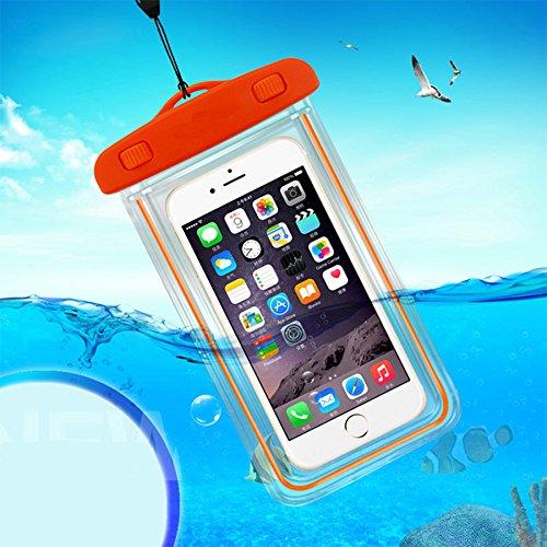 TIODIO® Waterproof Bag/Case Pour Touch Screen phone Under 5.5 inch Boitier etanche pour iPhone,Samsung ,LG,Nokia,Sony et telephone a ecran tactile sous 5.5inch, Violet Orange