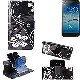 K-S-Trade Schutzhülle für Jiayu S3 Basic Hülle 360° Wallet Case Schutz Hülle ''Flowers'' Smartphone Flip Cover Flipstyle Tasche Handyhülle schwarz-weiß 1x