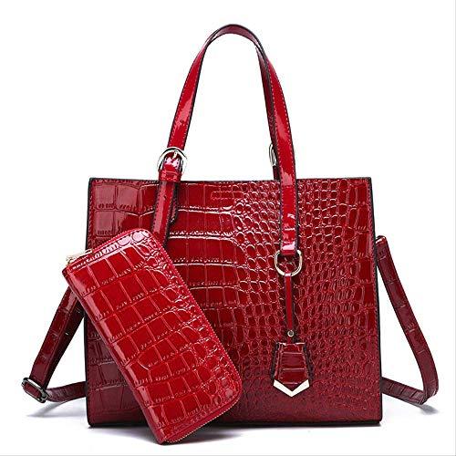 ZYF996 Frühling Und Sommer Frauen Tasche Mode Krokodil Tattoo Handtasche Licht Reisetasche 2 Stück 29,0 cm * 11,0 cm * 25,0 cm Weinrot - Rot Krokodil Handtasche