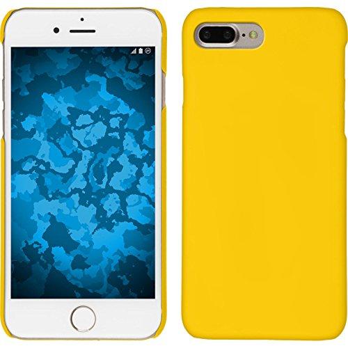 PhoneNatic Case kompatibel mit Apple iPhone 7 Plus / 8 Plus - Hülle gelb gummiert Hard-case + 2 Schutzfolien Gelb Hard Case