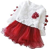 Moonuy Otoño El bebé infantil embroma a muchachas Fiesta Cordón Flor Tutú Cuello redondo Princesa Vestir ropa Conjuntos (Rojo, 90)