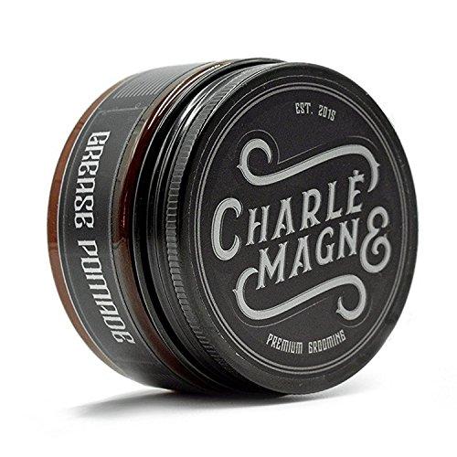 Charlemagne Grease Pomade - Mittlerer Halt - Edler Duft - Glanz Finish für die Haare - Styling Haar-Wachs für Herren/Männer - 100ML - Haar-Wax hergestellt in UK - Barbier Qualität - Pommade Wachs Männer