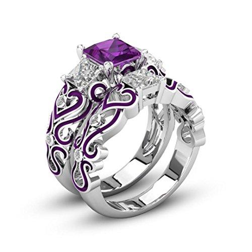 KEERADS Ring, 925 Silver Fashion Luxury Vintage 2-in-1 Diamond Crystal Rings Fashion Woman Jewelry (L 1/2, Purple)