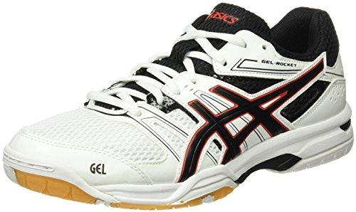 Asics Gel Rocket (Asics Herren Gel-Rocket 7 Volleyball-Schuhe, Mehrfarbig (White/Black/Vermilion), 39.5 EU)