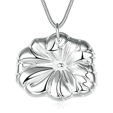 Aooaz Jewelry Womens Silver Plated Pendant Necklaces Lotus Leaf Silver Wedding Necklace Charm Necklace