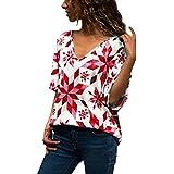 Camiseta Suelto de Moda para Mujer Tops Informal con Cuello en v y Manga Corta Camisas Casual Verano Blusa