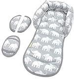 PRIEBES EMIL Sitzverkleinerer mit Gurtpolster | Universal-Set mit Kopfschutz & Sitzverkleinerer & Gurtpolster für jede Babyschale | atmungsaktiv & waschbar | Schonbezug 100 % Baumwolle, Design:elefanten grau