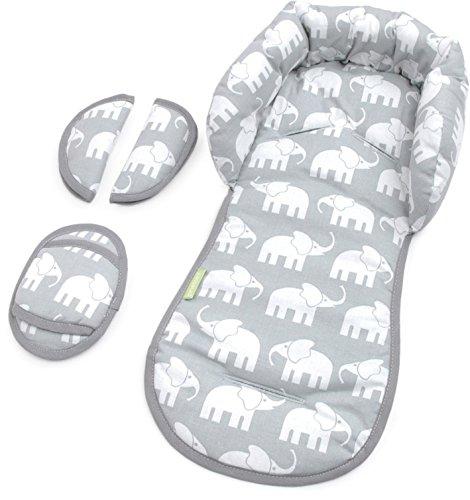 PRIEBES EMIL Sitzverkleinerer mit Gurtpolster | Universal-Set mit Kopfschutz & Sitzverkleinerer & Gurtpolster für jede Babyschale | atmungsaktiv & waschbar | Schonbezug 100 {4824ab608892953329b62e6469ab6c085b4902a3f32422dd65aef42c54b1fe68} Baumwolle, Design:elefanten grau