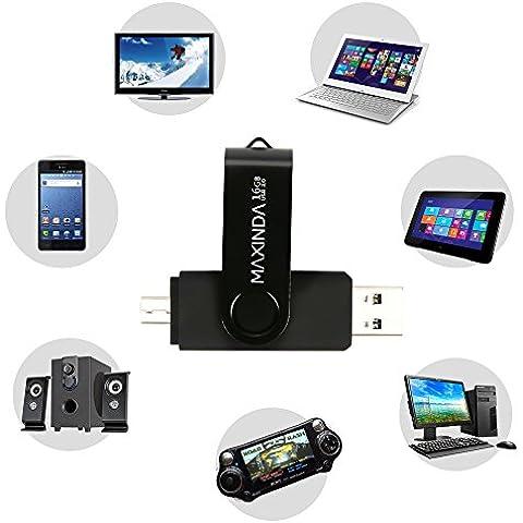 MaXinDa 16GB/32GB/64GB Flash Drive de USB OTG (On the Go) Doble Transforma Memoria USB Stick 3.0 a Micro USB Para Smartphone Android o Tableta (16 GB,