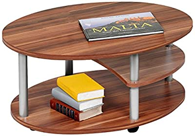 'Alfa-Tische M2082 Primo, 91 x 70 cm, walnut wood coffee table on castors Design Oval