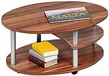Alfa-Tische M2082 Couchtisch Primo, 91 x 70 cm, walnuß Dekor auf Rollen, Ausführung oval