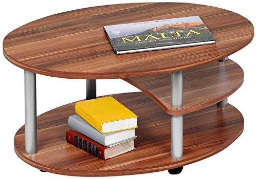 Alfa-Tische M2082 - Tavolino da salotto, 91 x 70 cm, con rotelle, ovale, colore: noce