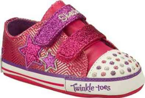 Baby Skechers Twinkle Toes Sparks Crib Shoes Pink Pink (Pink/Purple/White)