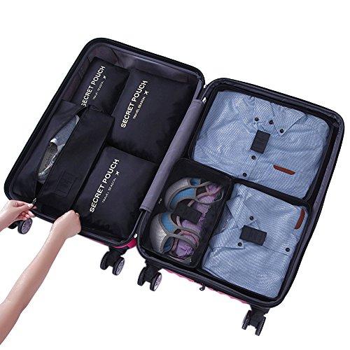 Yiran 7 Set Organizzatori di viaggio imballaggio cubi di lavanderia sacchetto dei bagagli Compressione Sacchetti Bag in sacchetto dell\'organizzatore per i vestiti,Cosmetici,scarpe (Nero)