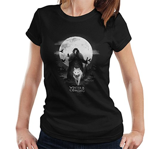 (Game of Thrones Moonlight John Snow and Ghost Women's T-Shirt)