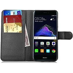 Huawei P8 Lite 2017 Custodia - IVSO Lussuosa PU Cover Custodia Protettiva Portafoglio da Mano per Huawei P8 Lite 2017 Smartphone (Nero)