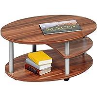 Alfa-Tische M2082 - Tavolino da salotto, 91 x 70 cm, con rotelle, ovale, colore: (Noce Ovale Tavolino)
