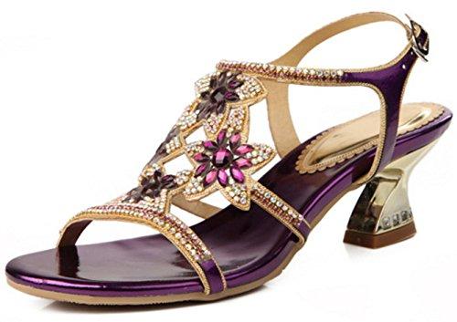 HYLM Sandali femminili nuovi bei tacchi alti di diamante per partecipare ai pattini di vestito da banchetto di nozze Grande formato 2-8 purple (coarse heel)