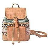Amoyie Klassische Rucksackhandtaschen Klein, Leder und Baumwolle Freizeitrucksack, Mädchen Damen Taschen Rucksäcke für Schule, Einkaufen, Reise, Arbeit