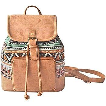 3c4f3fdb74 Amoyie Sacs à main portés dos femme en cuir et toile, sacs à dos loisir  petite, sac vintage pour voyage travail