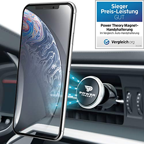 Power Theory Magnet Handyhalter fürs Auto - Handyhalterung Auto Lüftung Handy Halter für iPhone XS Max X 8 7 Plus 6s SE Samsung S10 S9 S8 S7 S6 Smartphone Halterung Universal Autohalterung