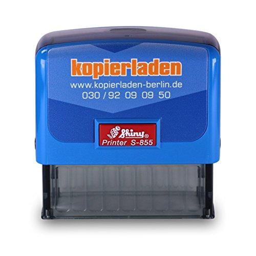 Stempel mit individuellem Wunschtext, Shiny S-855, 25 x 70 mm für bis zu 6 Zeilen - Selbstfärbender Firmen-, Büro- oder Adressstempel, Stempelautomat - Gummi-stempel Namen Mit Dem