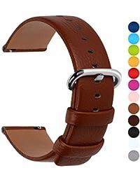 12 Colores para Correa de Reloj,Fullmosa®Uli Piel Correa Huawei Samsung Correa/Banda/Band/Pulsera/Strap de Recambio/Reemplazo 18mm 20mm 22mm 24mm,Marron 24mm