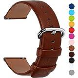 Fullmosa 12 Farben für Uhrenarmband, Uli Serie Echtes Lederarmband Ersatzband Smart Watch Strap mit Edelstahl Metall Schließe 22mm Braun