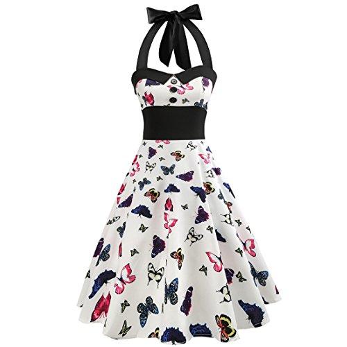 Kleider SANFASHION Damen Minikleid Vintage Dot Bodycon ärmelloses Dress Halter Abendkleid