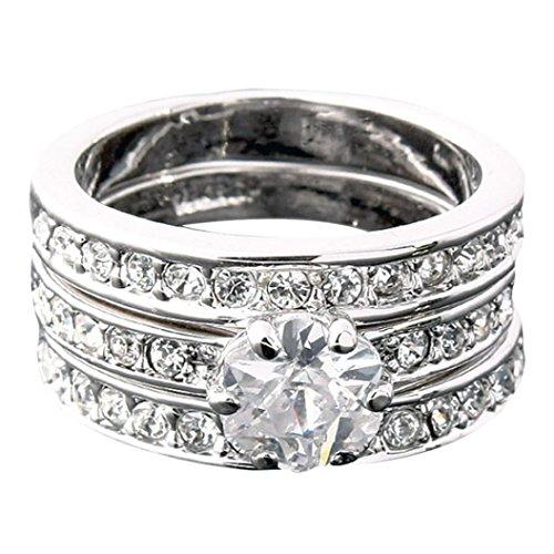 DDLBiz® 3 in 1 argento Acciaio Inossidabile Eternità Anello Anelli Banda Zirconia Cubica Zircone Matrimonio Donna (9)