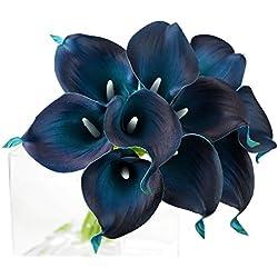 FiveSeasonStuff 10 Stück Qualität Gefühlsecht (Real Touch) Calla-Lilien-künstliche Blumen-Bouquet Dekoration, Ideal für die Hochzeit, Braut, Party, Zuhause, Büro Dekor DIY (Dunkelblau)