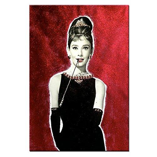 Quadro gioiello stampa su tela con strass e Audrey Hepburn 60x90