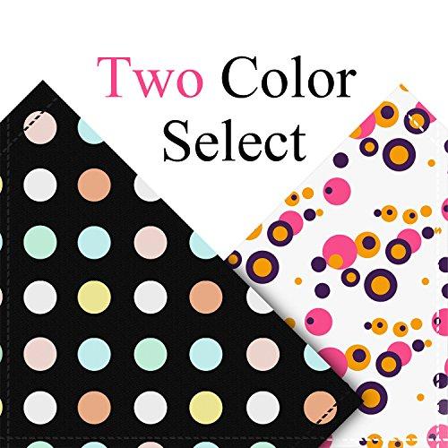 Poppypet Halstücher für Haustier, Mode Design Halstuch für Hunde oder Katzen, Hunde Bandana Bequeme Stoffe Haustier Schal Punkte Muster 29cm- 48cm Verstellbare Schwarz - 3