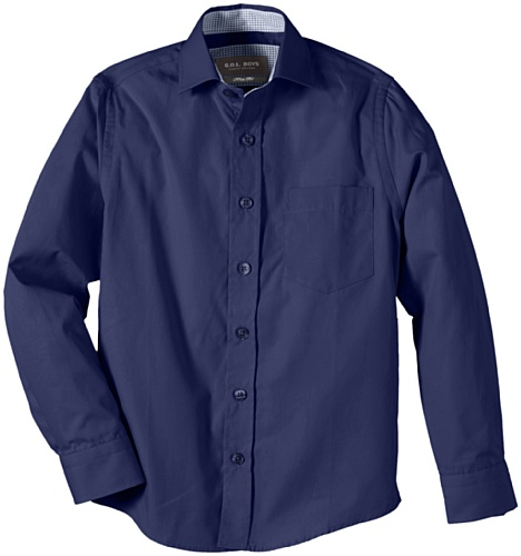 G.O.L. Jungen Hemd mit Haifischkragen, Slimfit, Einfarbig, Gr. 134, Blau (midnight-blue)