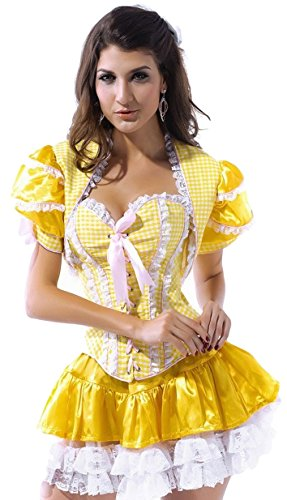 Damen Sexy Goldilocks Märchen Korsett Halloween Fancy Kleid Kostüm Outfit - Gelb, (Goldilocks Outfits)