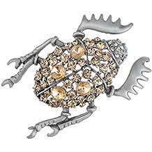 Alilang Colorado Rhinestone excremento libelista Escarabajo egipcio de cristal Broche mariquita