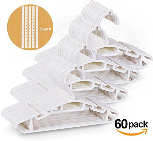 Lot de 60 Cintres Vêtements de Enfants en Plastique de Stockage Cintres pour la Longueur de 30cm en Blanc avec 5 Chaînes de Cintres en Plastique
