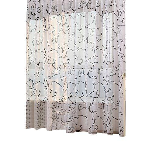 Prosperveil, tenda in voile con stampa di edera, con fettuccia a matita, in tulle, per soggiorno, camera da letto, decorazione per la casa, 200 cm nero