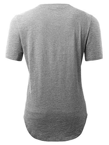 KAIUSI Herren Basic kurzarm T-Shirts mit Rundhals Grau