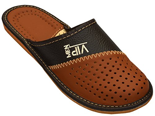 Herren Hausschuhe Leder Pantoffeln _vip (45) , farbe - Braun , Gr. 45 EU (Leder Für Sandalen Größe 15 Männer Aus)
